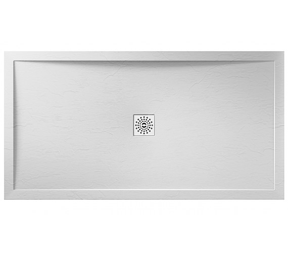 April Waifer 1600 x 760mm Rectangular Slate Effect White Shower Tray