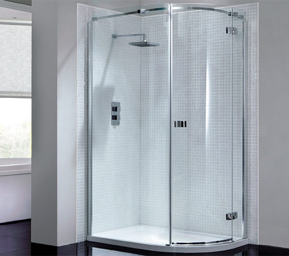 April Prestige Frameless 900 x 760mm Single Door Offset Shower Quadrant