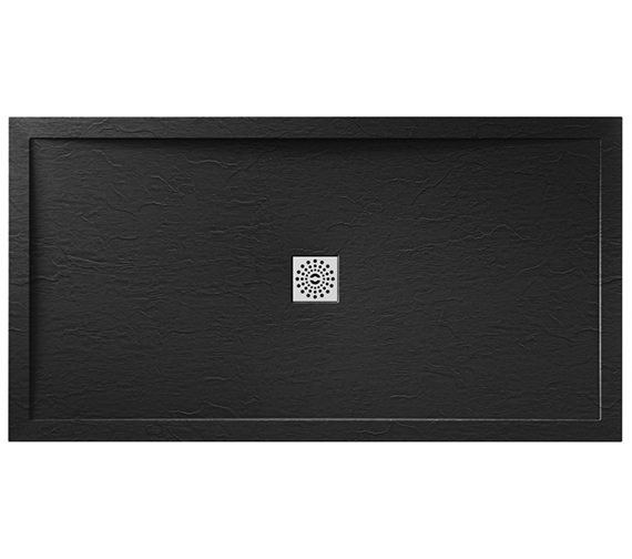 April Waifer 1700 x 800mm Rectangular Slate Effect Black Shower Tray