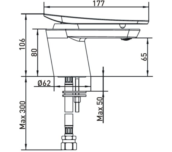 Technical drawing QS-V82471 / CLR 1HBF WHT