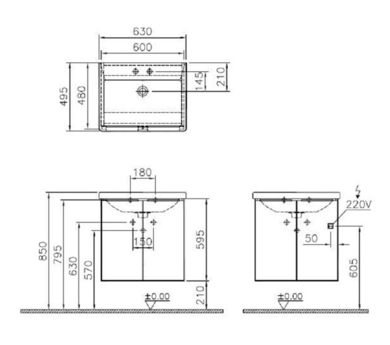 Technical drawing QS-V81865 / 58923