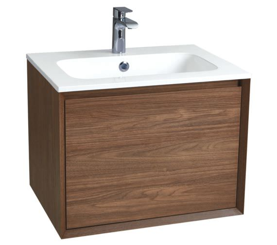 Phoenix Enzo 610mm Walnut Wall Mounted Vanity Unit And Solid Surface Basin