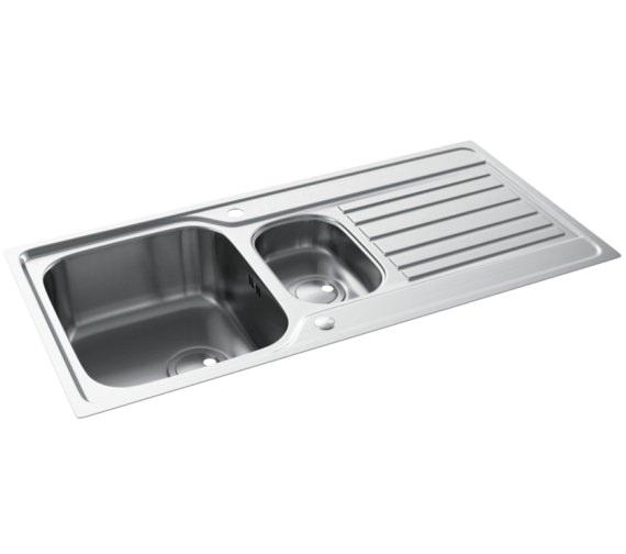 Abode Connekt FlushFit Stainless Steel 1.5 Bowl Kitchen Sink With Drainer