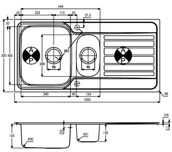 Technical drawing QS-V8258 / AW5059