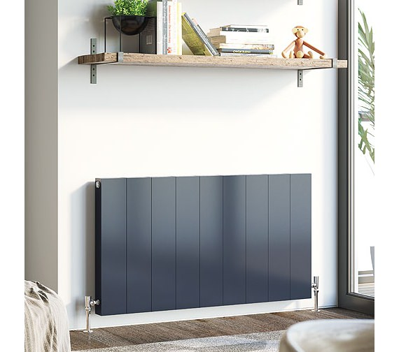 DQ Heating Vela 600mm High Horizontal Designer Radiator - Anthracite And White Finish Available