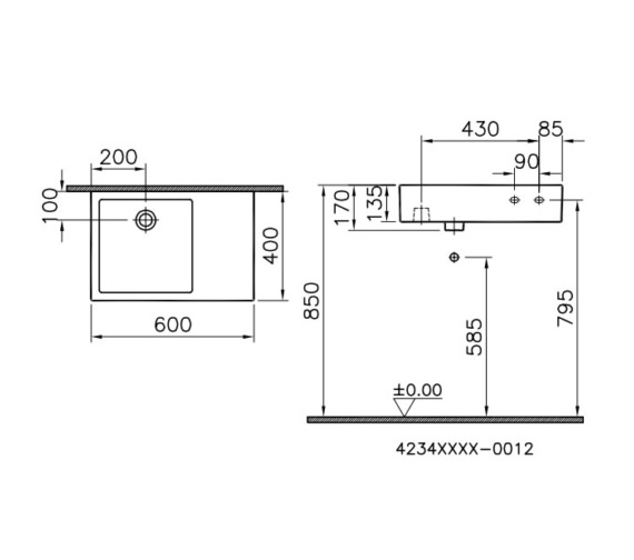 Technical drawing QS-V81878 / 4234B003-0012