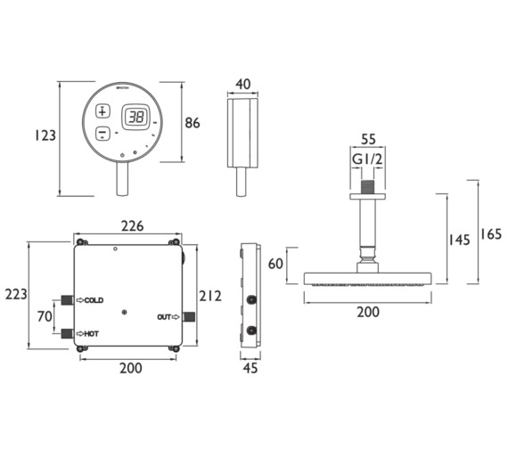 Alternate image of Bristan Artisan EVO Digital Mixer Shower With Ceiling Rose Kit Black