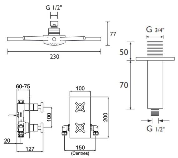 Technical drawing QS-V6916 / CASCADE SHWR PK