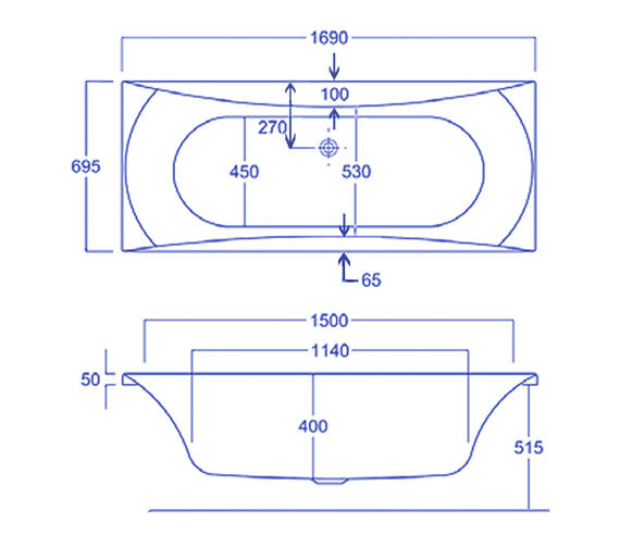 Technical drawing QS-V34775 / Carron Baths - QS-V34775