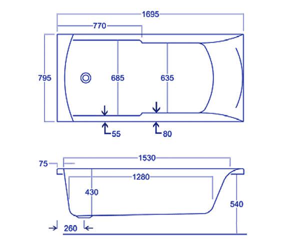 Technical drawing QS-V34778 / Carron Baths - QS-V34778
