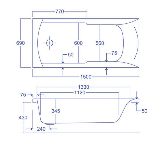 Technical drawing QS-V34782 / Carron Baths - QS-V34782