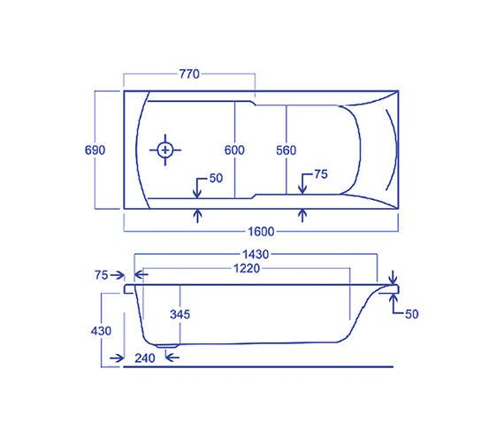 Technical drawing QS-V34783 / Carron Baths - QS-V34783