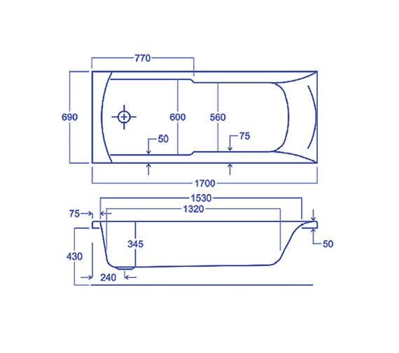 Technical drawing QS-V34784 / Carron Baths - QS-V34784