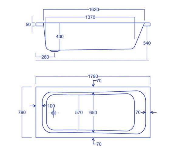 Technical drawing QS-V34786 / Carron Baths - QS-V34786