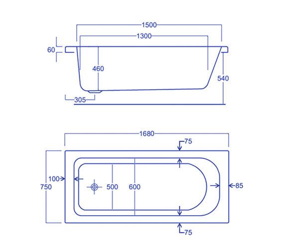 Technical drawing QS-V34787 / Carron Baths - QS-V34787