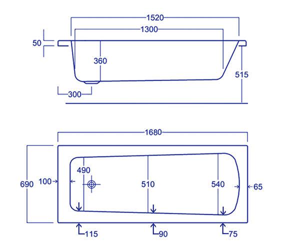 Technical drawing QS-V34788 / Carron Baths - QS-V34788