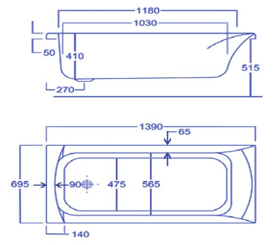 Technical drawing QS-V34790 / Carron Baths - QS-V34790