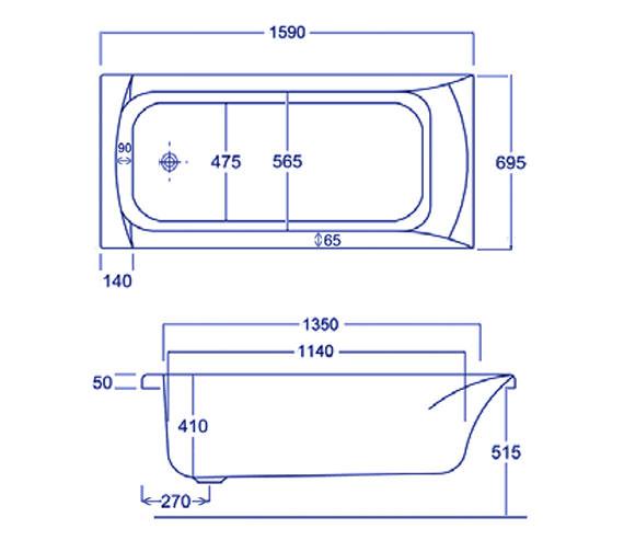 Technical drawing QS-V34792 / Carron Baths - QS-V34792