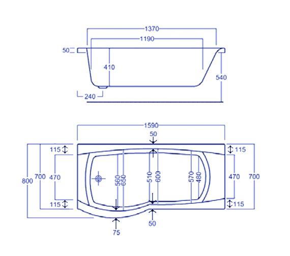 Technical drawing QS-V34794 / Carron Baths - QS-V34794