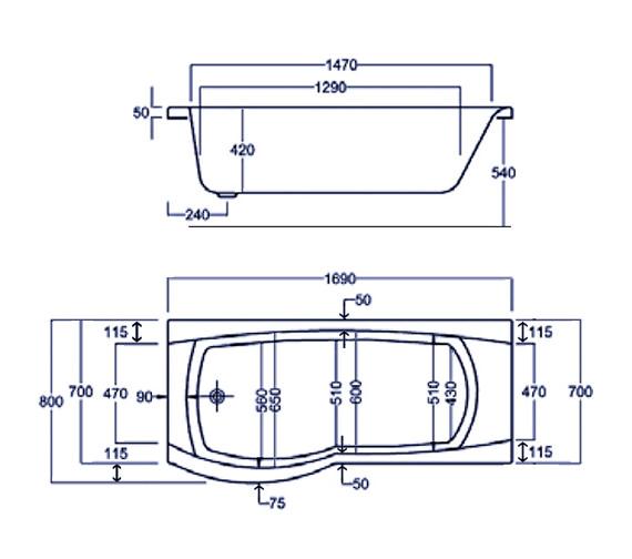 Technical drawing QS-V34795 / Carron Baths - QS-V34795