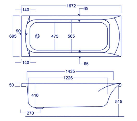 Technical drawing QS-V34796 / Carron Baths - QS-V34796