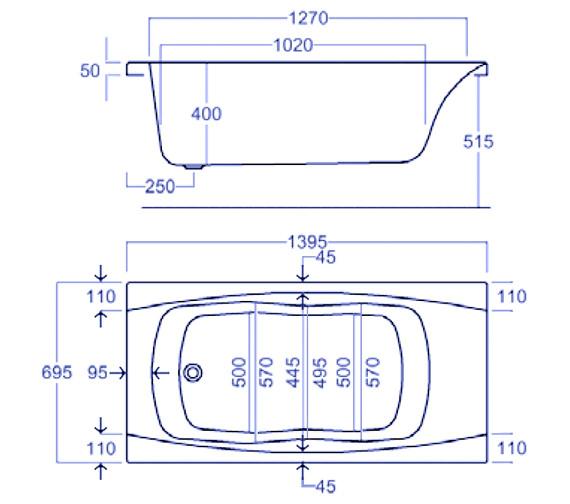 Technical drawing QS-V34799 / Carron Baths - QS-V34799
