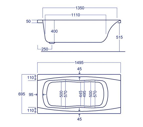 Technical drawing QS-V34800 / Carron Baths - QS-V34800