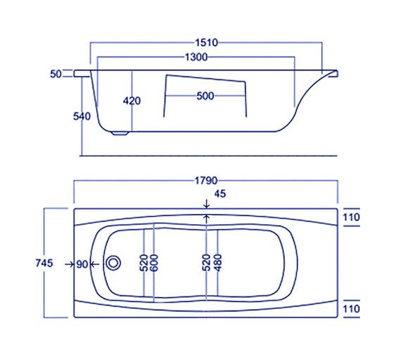 Technical drawing QS-V34804 / Carron Baths - QS-V34804