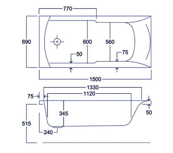 Technical drawing QS-V34805 / Carron Baths - QS-V34805