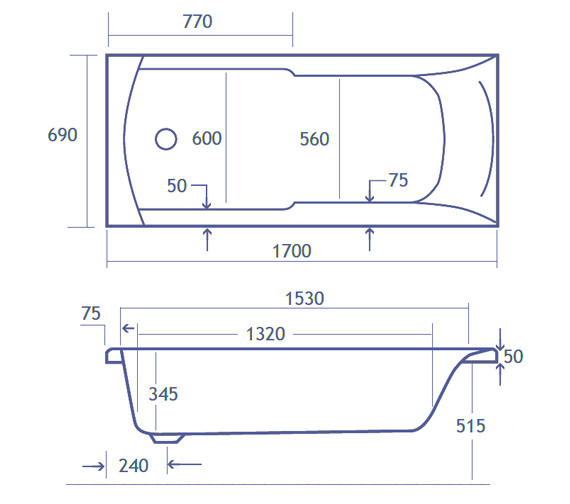 Technical drawing QS-V34807 / Carron Baths - QS-V34807