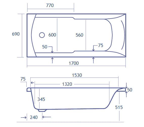 Technical drawing QS-V34807 / Carron Baths - QS-V34807