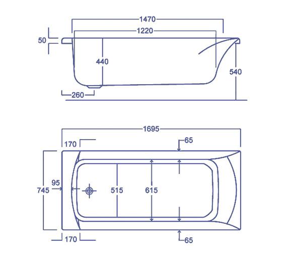 Technical drawing QS-V34821 / Carron Baths - QS-V34821