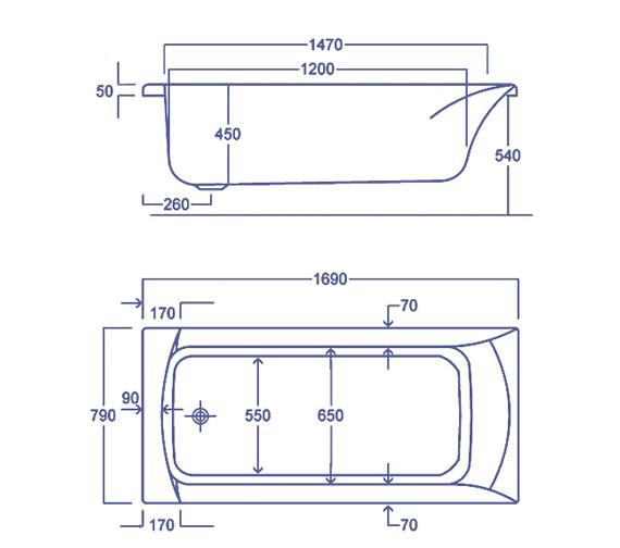 Technical drawing QS-V34822 / Carron Baths - QS-V34822
