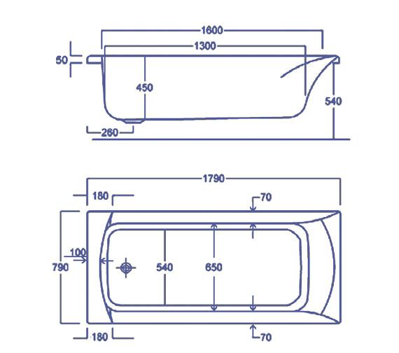 Technical drawing QS-V34823 / Carron Baths - QS-V34823
