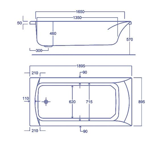 Technical drawing QS-V34824 / Carron Baths - QS-V34824
