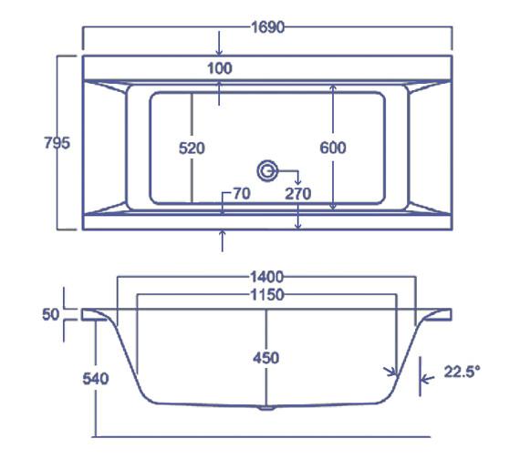 Technical drawing QS-V38484 / Carron Baths - QS-V38484