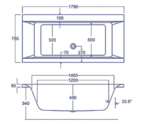 Technical drawing QS-V38485 / Carron Baths - QS-V38485