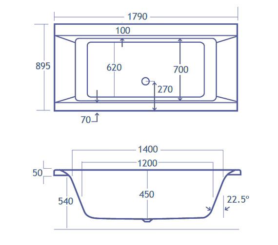 Technical drawing QS-V38486 / Carron Baths - QS-V38486