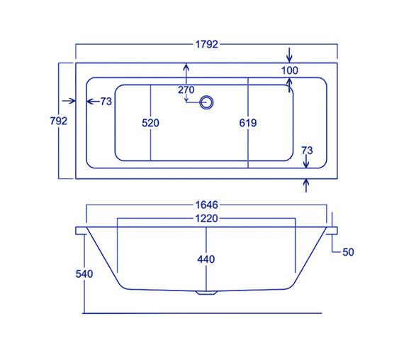 Technical drawing QS-V34817 / Carron Baths - QS-V34817