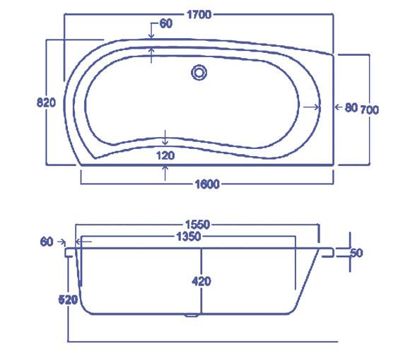 Technical drawing QS-V34774 / Carron Baths - QS-V34774