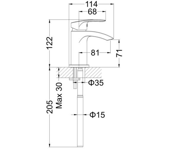 Technical drawing QS-V78016 / MBFW114N