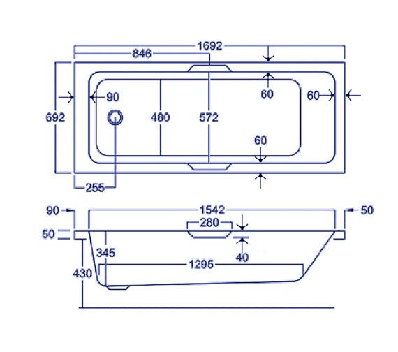 Carron Quantum Integra Eco 5mm Acrylic Bath 1700 X 700mm