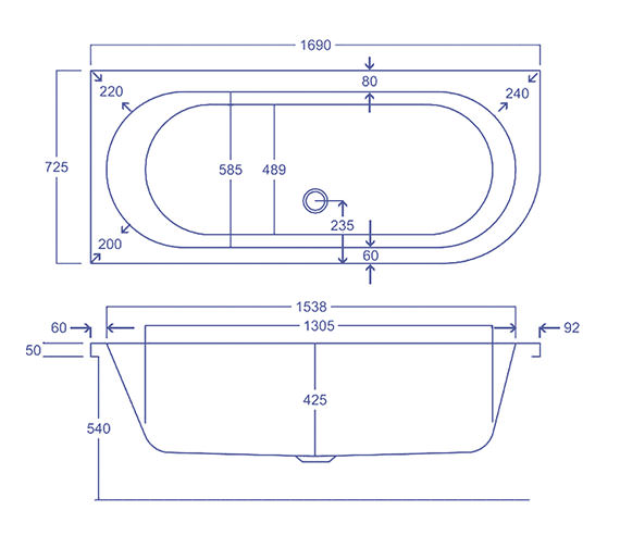 Technical drawing QS-V34826 / Carron Baths - QS-V34826