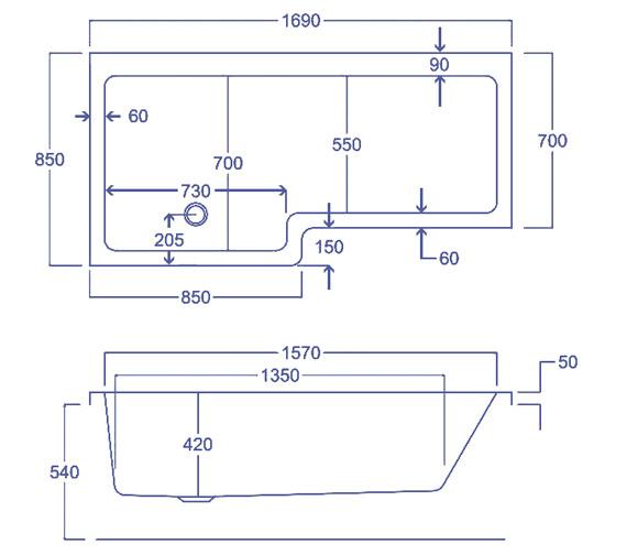 Technical drawing QS-V34840 / Carron Baths - QS-V34840