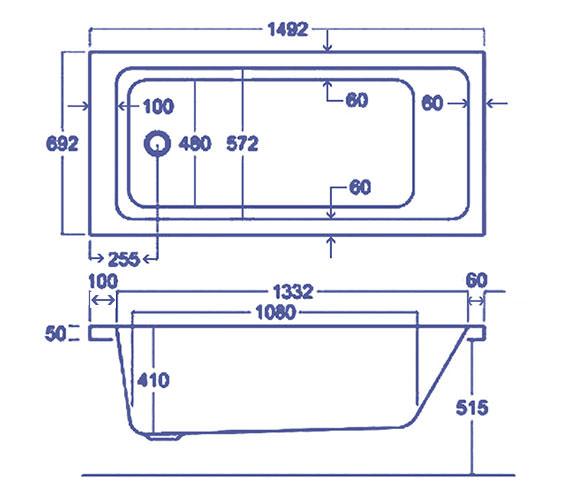 Technical drawing QS-V38489 / Carron Baths - QS-V38489