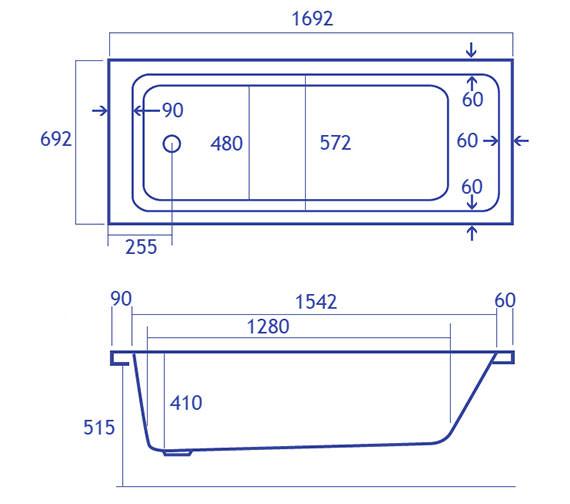 Technical drawing QS-V34815 / Carron Baths - QS-V34815
