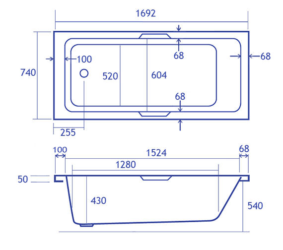 Technical drawing QS-V34820 / Carron Baths - QS-V34820