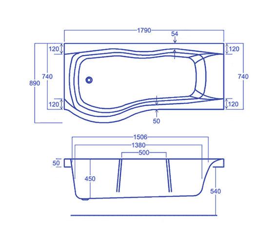Technical drawing QS-V34825 / Carron Baths - QS-V34825