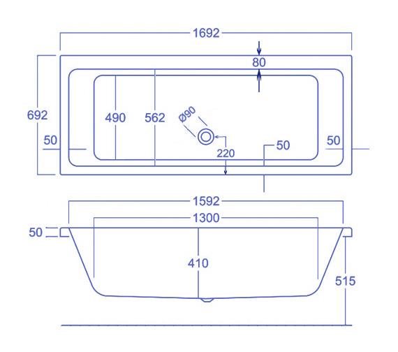 Technical drawing QS-V34816 / Carron Baths - QS-V34816