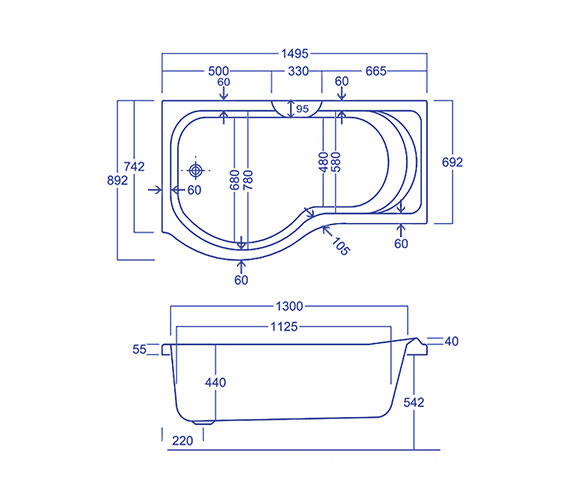 Technical drawing QS-V34591 / CABPRCTL155PALH